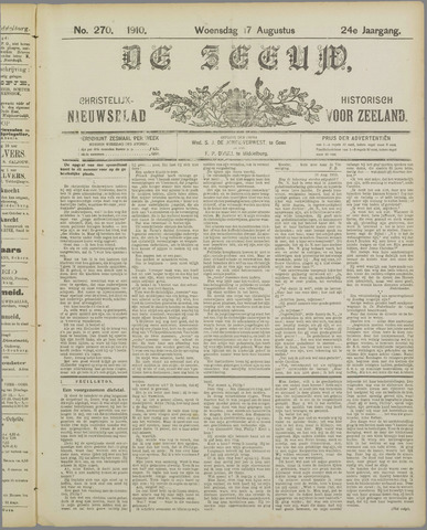 De Zeeuw. Christelijk-historisch nieuwsblad voor Zeeland 1910-08-17