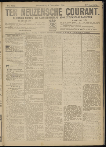Ter Neuzensche Courant. Algemeen Nieuws- en Advertentieblad voor Zeeuwsch-Vlaanderen / Neuzensche Courant ... (idem) / (Algemeen) nieuws en advertentieblad voor Zeeuwsch-Vlaanderen 1914-12-03