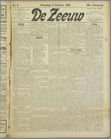 De Zeeuw. Christelijk-historisch nieuwsblad voor Zeeland 1921-10-03