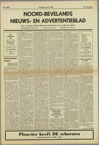 Noord-Bevelands Nieuws- en advertentieblad 1958-07-05