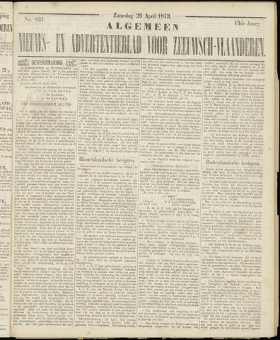 Ter Neuzensche Courant. Algemeen Nieuws- en Advertentieblad voor Zeeuwsch-Vlaanderen / Neuzensche Courant ... (idem) / (Algemeen) nieuws en advertentieblad voor Zeeuwsch-Vlaanderen 1873-04-26