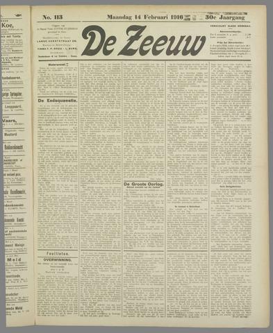 De Zeeuw. Christelijk-historisch nieuwsblad voor Zeeland 1916-02-14