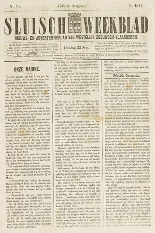 Sluisch Weekblad. Nieuws- en advertentieblad voor Westelijk Zeeuwsch-Vlaanderen 1874-09-22