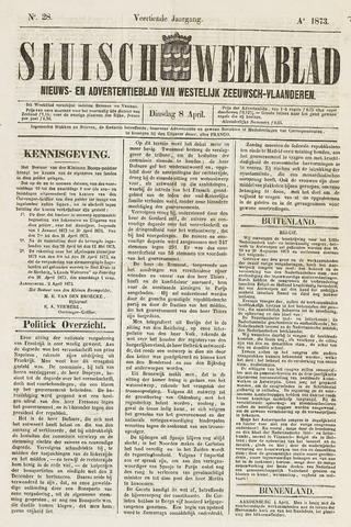 Sluisch Weekblad. Nieuws- en advertentieblad voor Westelijk Zeeuwsch-Vlaanderen 1873-04-08