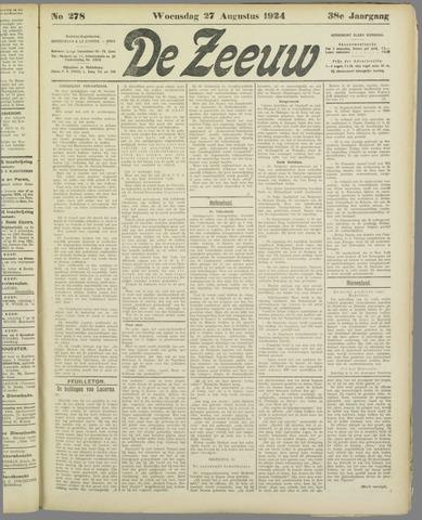 De Zeeuw. Christelijk-historisch nieuwsblad voor Zeeland 1924-08-27