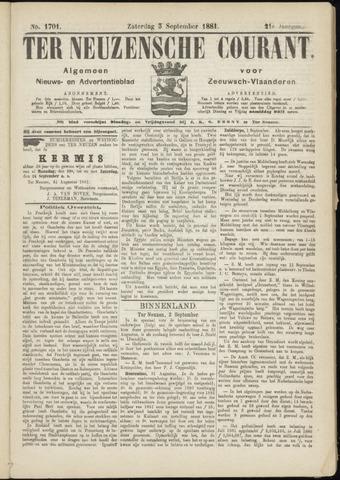 Ter Neuzensche Courant. Algemeen Nieuws- en Advertentieblad voor Zeeuwsch-Vlaanderen / Neuzensche Courant ... (idem) / (Algemeen) nieuws en advertentieblad voor Zeeuwsch-Vlaanderen 1881-09-03