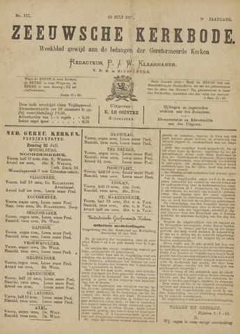 Zeeuwsche kerkbode, weekblad gewijd aan de belangen der gereformeerde kerken/ Zeeuwsch kerkblad 1889-07-20