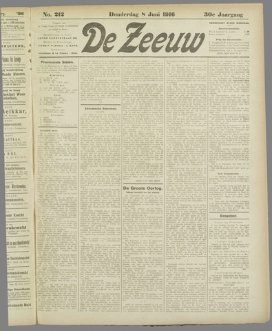 De Zeeuw. Christelijk-historisch nieuwsblad voor Zeeland 1916-06-08