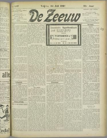 De Zeeuw. Christelijk-historisch nieuwsblad voor Zeeland 1921-07-22