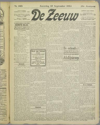 De Zeeuw. Christelijk-historisch nieuwsblad voor Zeeland 1924-09-27