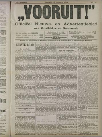 """""""Vooruit!""""Officieel Nieuws- en Advertentieblad voor Overflakkee en Goedereede 1916-08-30"""