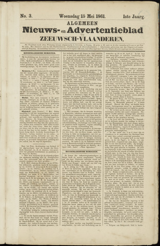 Ter Neuzensche Courant. Algemeen Nieuws- en Advertentieblad voor Zeeuwsch-Vlaanderen / Neuzensche Courant ... (idem) / (Algemeen) nieuws en advertentieblad voor Zeeuwsch-Vlaanderen 1861-05-15