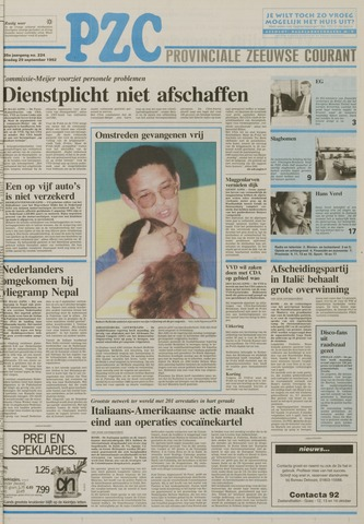 Provinciale Zeeuwse Courant 1992-09-29
