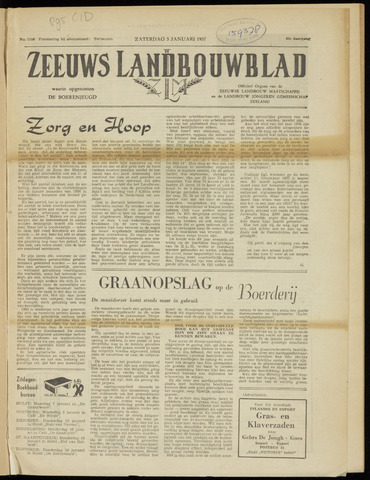 Zeeuwsch landbouwblad ... ZLM land- en tuinbouwblad 1957