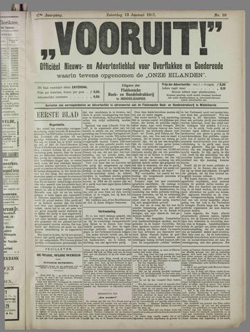 """""""Vooruit!""""Officieel Nieuws- en Advertentieblad voor Overflakkee en Goedereede 1917-01-13"""