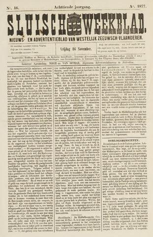 Sluisch Weekblad. Nieuws- en advertentieblad voor Westelijk Zeeuwsch-Vlaanderen 1877-11-16
