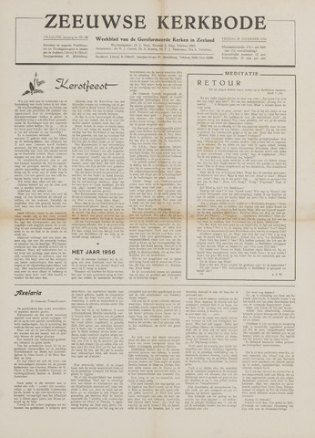 Zeeuwsche kerkbode, weekblad gewijd aan de belangen der gereformeerde kerken/ Zeeuwsch kerkblad 1956-12-21