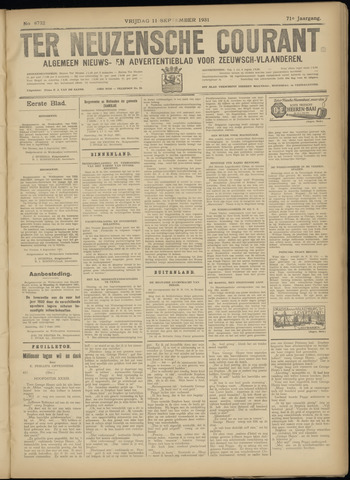 Ter Neuzensche Courant. Algemeen Nieuws- en Advertentieblad voor Zeeuwsch-Vlaanderen / Neuzensche Courant ... (idem) / (Algemeen) nieuws en advertentieblad voor Zeeuwsch-Vlaanderen 1931-09-11