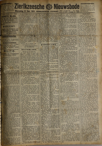 Zierikzeesche Nieuwsbode 1921-12-21