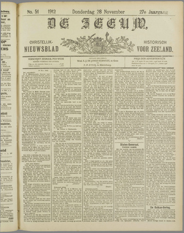 De Zeeuw. Christelijk-historisch nieuwsblad voor Zeeland 1912-11-28