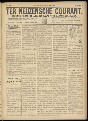 Ter Neuzensche Courant. Algemeen Nieuws- en Advertentieblad voor Zeeuwsch-Vlaanderen / Neuzensche Courant ... (idem) / (Algemeen) nieuws en advertentieblad voor Zeeuwsch-Vlaanderen 1933-08-09