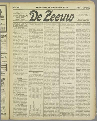 De Zeeuw. Christelijk-historisch nieuwsblad voor Zeeland 1924-09-18