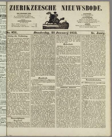 Zierikzeesche Nieuwsbode 1852-01-22