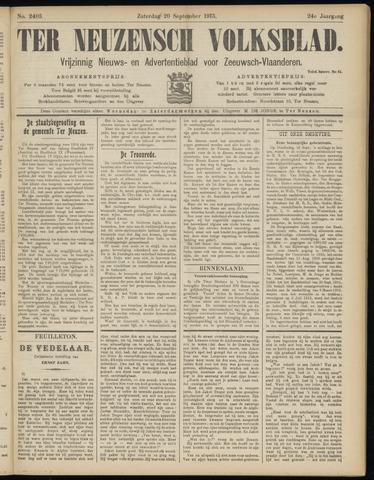 Ter Neuzensch Volksblad. Vrijzinnig nieuws- en advertentieblad voor Zeeuwsch- Vlaanderen / Zeeuwsch Nieuwsblad. Nieuws- en advertentieblad voor Zeeland 1913-09-20