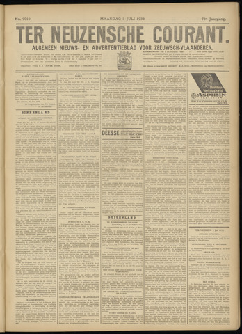 Ter Neuzensche Courant. Algemeen Nieuws- en Advertentieblad voor Zeeuwsch-Vlaanderen / Neuzensche Courant ... (idem) / (Algemeen) nieuws en advertentieblad voor Zeeuwsch-Vlaanderen 1933-07-03
