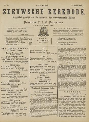 Zeeuwsche kerkbode, weekblad gewijd aan de belangen der gereformeerde kerken/ Zeeuwsch kerkblad 1890-01-04