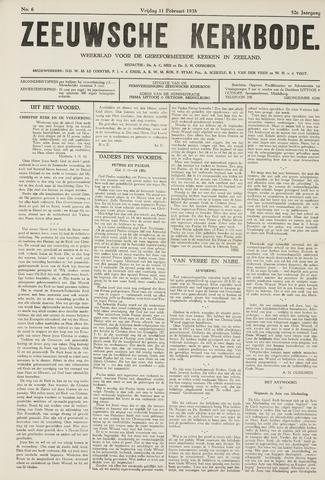 Zeeuwsche kerkbode, weekblad gewijd aan de belangen der gereformeerde kerken/ Zeeuwsch kerkblad 1938-02-11
