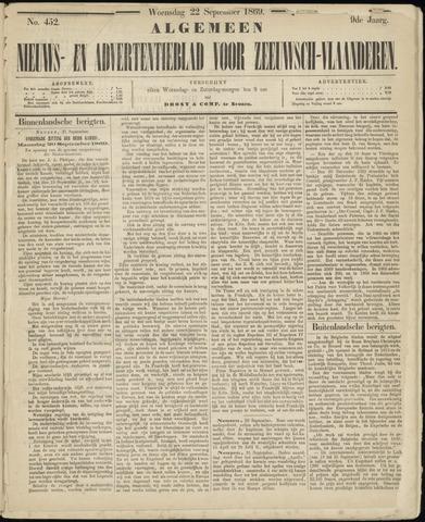 Ter Neuzensche Courant. Algemeen Nieuws- en Advertentieblad voor Zeeuwsch-Vlaanderen / Neuzensche Courant ... (idem) / (Algemeen) nieuws en advertentieblad voor Zeeuwsch-Vlaanderen 1869-09-22