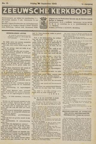 Zeeuwsche kerkbode, weekblad gewijd aan de belangen der gereformeerde kerken/ Zeeuwsch kerkblad 1945-09-28