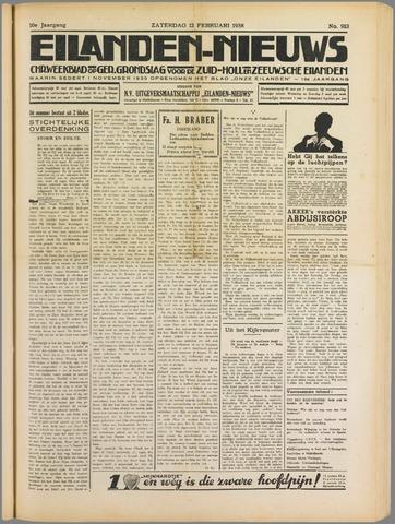 Eilanden-nieuws. Christelijk streekblad op gereformeerde grondslag 1938-02-12