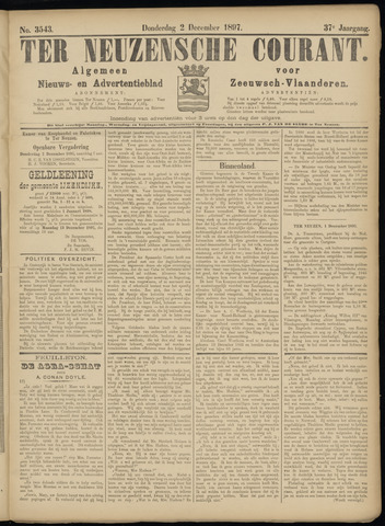 Ter Neuzensche Courant. Algemeen Nieuws- en Advertentieblad voor Zeeuwsch-Vlaanderen / Neuzensche Courant ... (idem) / (Algemeen) nieuws en advertentieblad voor Zeeuwsch-Vlaanderen 1897-12-02