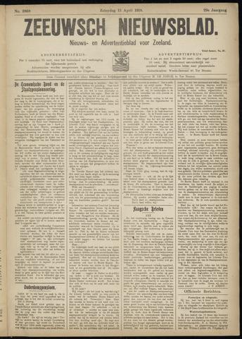 Ter Neuzensch Volksblad. Vrijzinnig nieuws- en advertentieblad voor Zeeuwsch- Vlaanderen / Zeeuwsch Nieuwsblad. Nieuws- en advertentieblad voor Zeeland 1918-04-13
