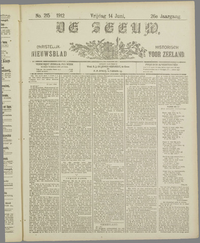De Zeeuw. Christelijk-historisch nieuwsblad voor Zeeland 1912-06-14