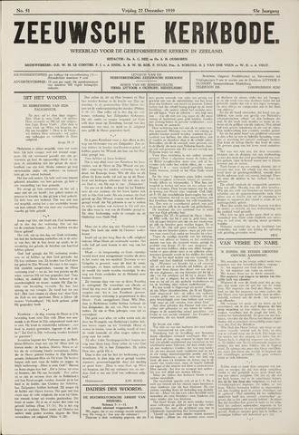 Zeeuwsche kerkbode, weekblad gewijd aan de belangen der gereformeerde kerken/ Zeeuwsch kerkblad 1939-12-22