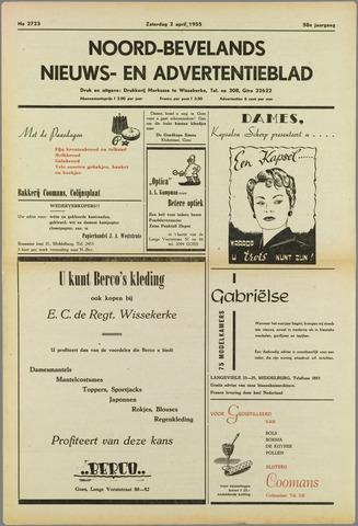 Noord-Bevelands Nieuws- en advertentieblad 1955-04-02