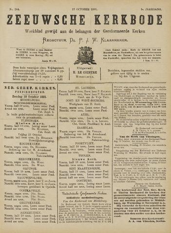 Zeeuwsche kerkbode, weekblad gewijd aan de belangen der gereformeerde kerken/ Zeeuwsch kerkblad 1891-10-17