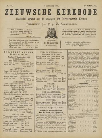 Zeeuwsche kerkbode, weekblad gewijd aan de belangen der gereformeerde kerken/ Zeeuwsch kerkblad 1891-10-03
