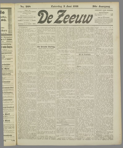 De Zeeuw. Christelijk-historisch nieuwsblad voor Zeeland 1916-06-03