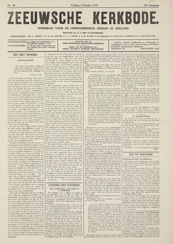 Zeeuwsche kerkbode, weekblad gewijd aan de belangen der gereformeerde kerken/ Zeeuwsch kerkblad 1935-10-04