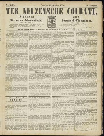 Ter Neuzensche Courant. Algemeen Nieuws- en Advertentieblad voor Zeeuwsch-Vlaanderen / Neuzensche Courant ... (idem) / (Algemeen) nieuws en advertentieblad voor Zeeuwsch-Vlaanderen 1884-10-18