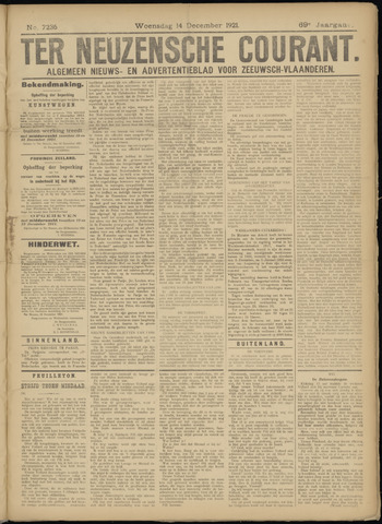 Ter Neuzensche Courant. Algemeen Nieuws- en Advertentieblad voor Zeeuwsch-Vlaanderen / Neuzensche Courant ... (idem) / (Algemeen) nieuws en advertentieblad voor Zeeuwsch-Vlaanderen 1921-12-14