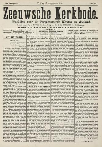 Zeeuwsche kerkbode, weekblad gewijd aan de belangen der gereformeerde kerken/ Zeeuwsch kerkblad 1920-08-27
