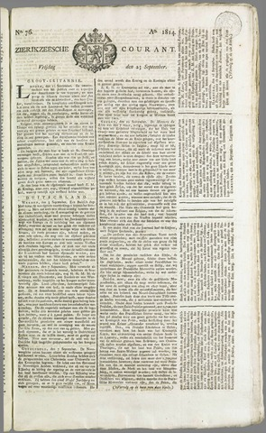 Zierikzeesche Courant 1814-09-23