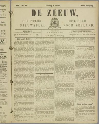 De Zeeuw. Christelijk-historisch nieuwsblad voor Zeeland 1888-01-03