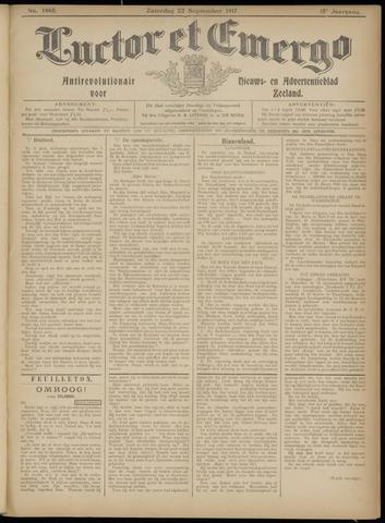 Luctor et Emergo. Antirevolutionair nieuws- en advertentieblad voor Zeeland / Zeeuwsch-Vlaanderen. Orgaan ter verspreiding van de christelijke beginselen in Zeeuwsch-Vlaanderen 1917-09-22