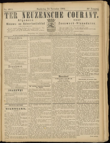 Ter Neuzensche Courant. Algemeen Nieuws- en Advertentieblad voor Zeeuwsch-Vlaanderen / Neuzensche Courant ... (idem) / (Algemeen) nieuws en advertentieblad voor Zeeuwsch-Vlaanderen 1904-11-24